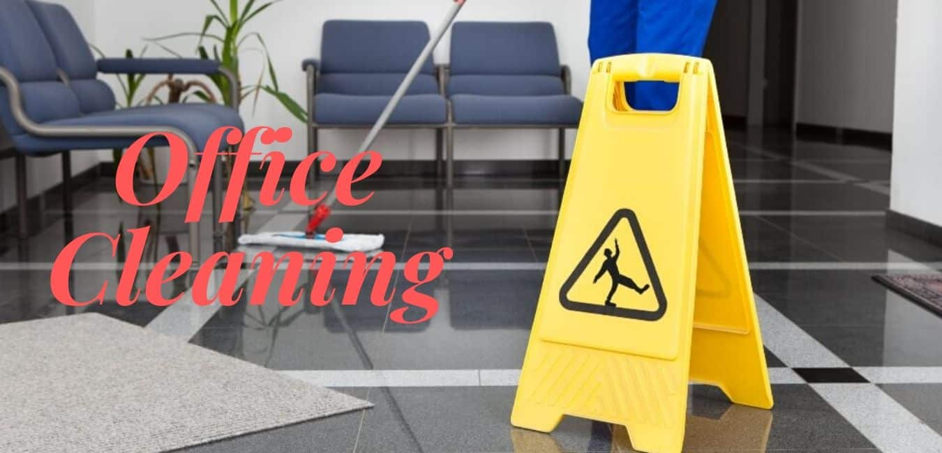 yellow and black caution sign with a janitor mopping a marble lobby floor