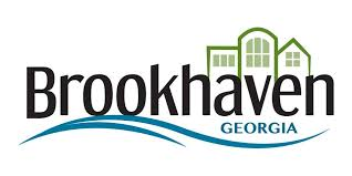 Brookhaven Georgia logo with 3 illustrations of a house
