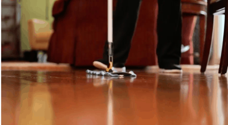 cleaner cleaning hardwood floor