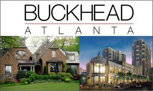 Buckhead atlanta in large letters.  image of large house and image of Atlanta skyline