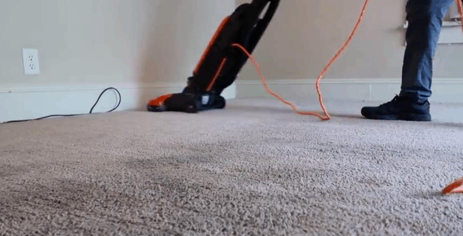 black vacuum vacuuming carpet