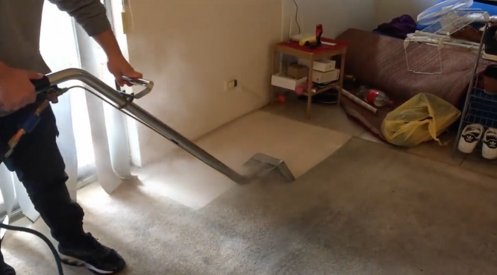 carpet cleaner cleaning dirty cream color carpet
