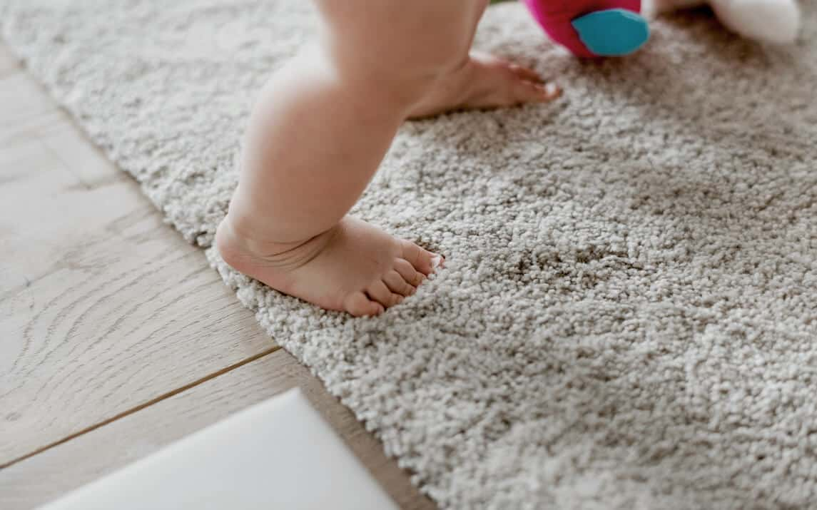 a toddler steps onto a freshly cleaned carpet.