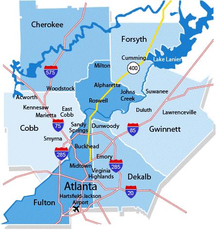 map of Atlanta metro area