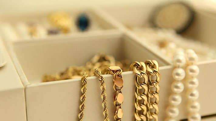 gold jewelry in a jewelry box