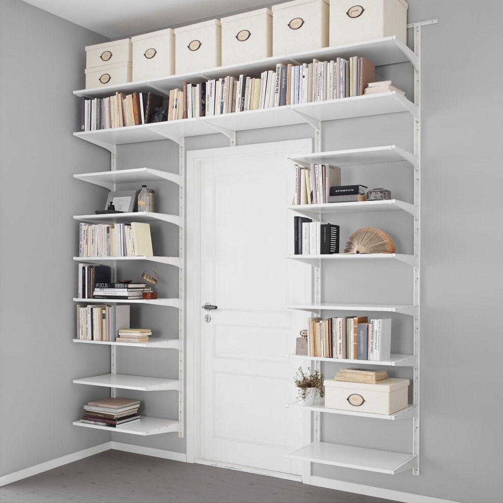 storage shelves over a white door