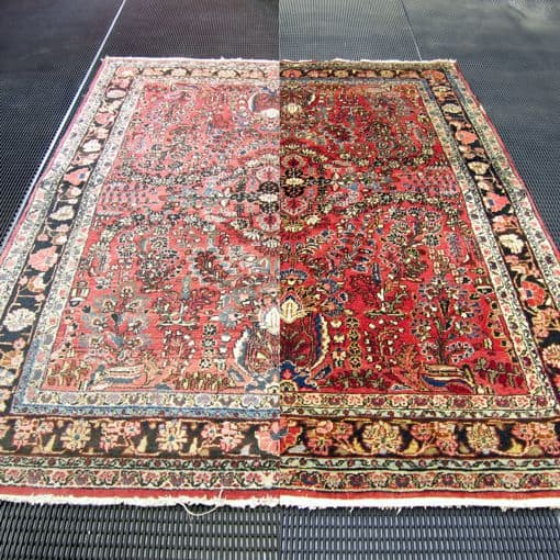 side by side view of clean and dirty area rug