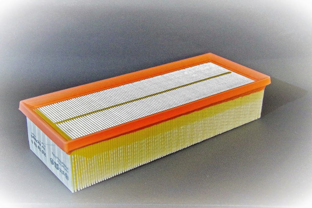 orange, yellow and white air filter