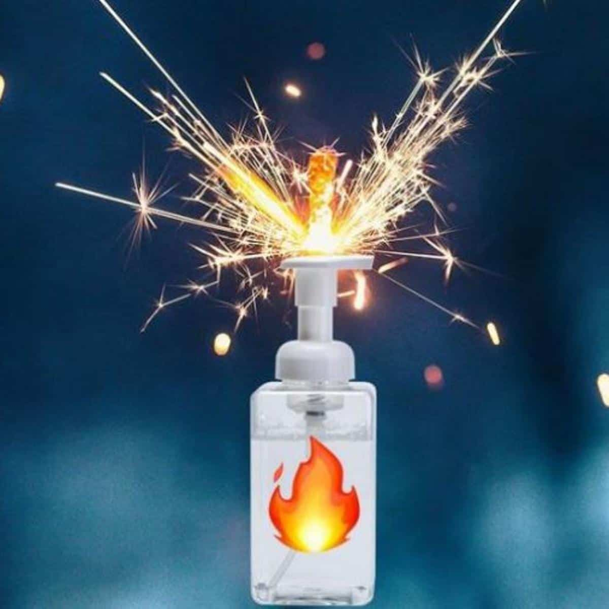 hand sanitizer bottle surrounded by sparks