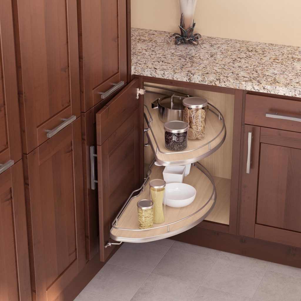 inside of cabinet displaying a lazy Susan