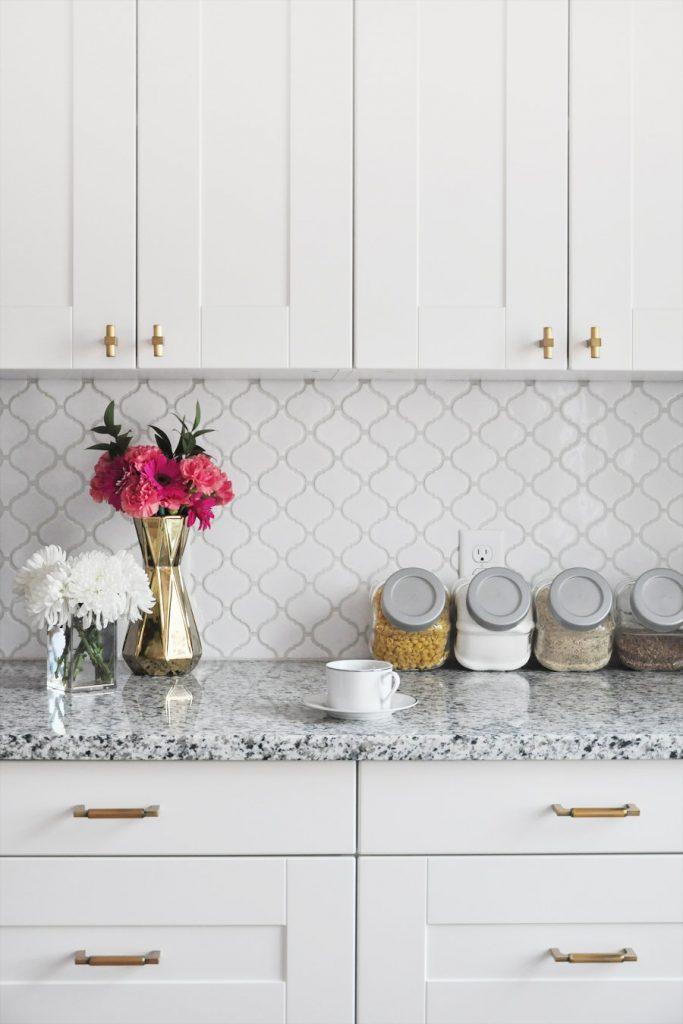 office white backsplash in kitchen
