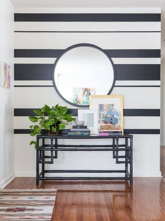 wall with black and white paint stripes
