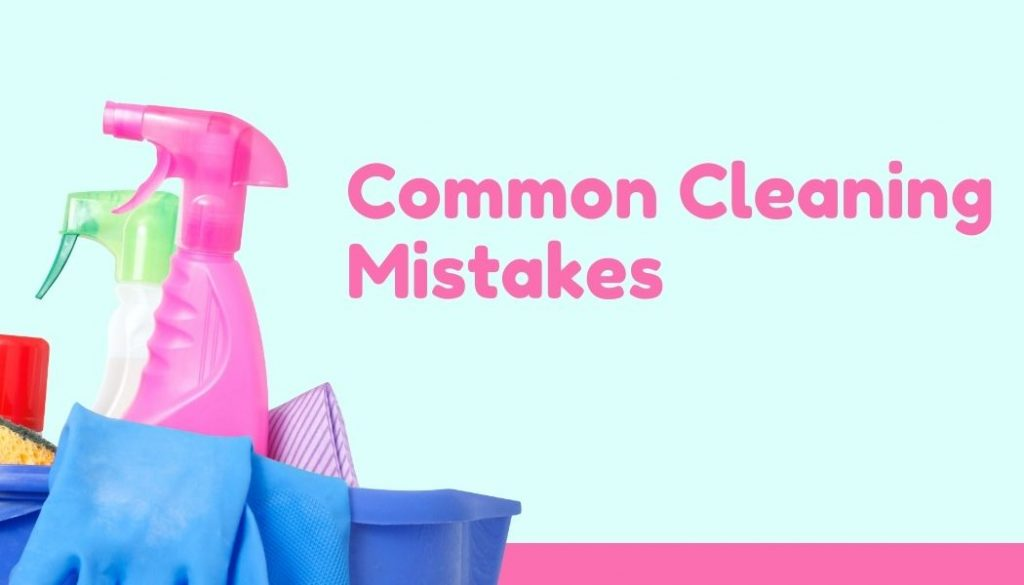 pink and blue cleaning supplies and equipment