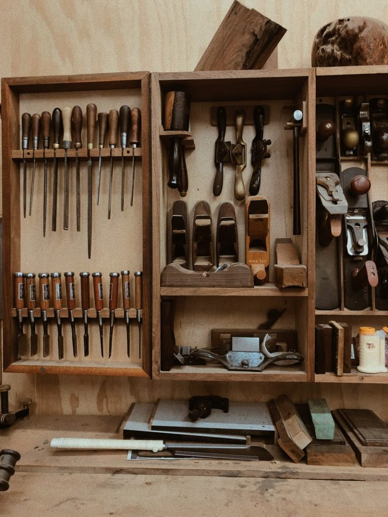 wooden workspace with tools