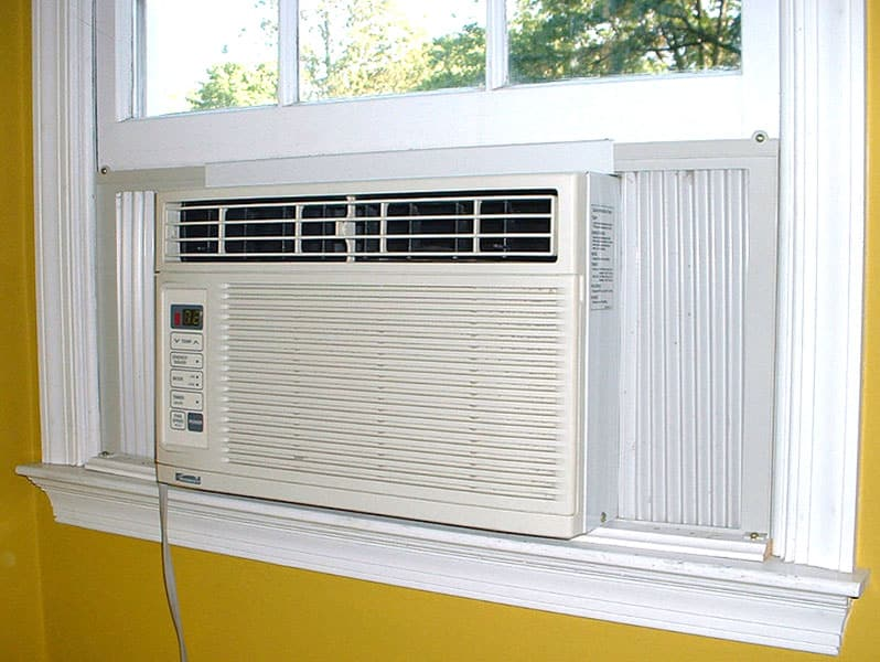 White wall unit ac attached to window