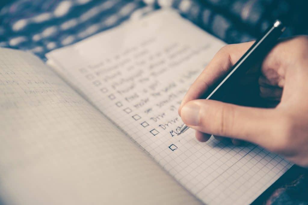 person creating checklist